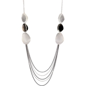 Carol Dauplaise Two-tone Silvertone Hematite Finish Station Chain Swag Necklace
