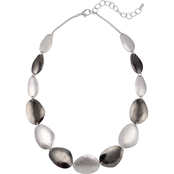 Carol Dauplaise Two-Tone Silvertone Hematite 19 in. Short Collar Necklace
