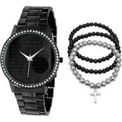HMY Jewelry Men's Stainless Steel Bracelet and Watch 2 pc. Set