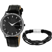HMY Jewelry Men's Stainless Steel Bracelet and Black IP Watch 2 pc. Set