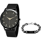 HMY Men's Our Father Prayer Watch and Black Bracelet Set B80-152-WD-613-150-B