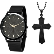 HMY Men's Stainless Steel Black IP Prayer Watch and Pendant Set B80-152-W-618-579-P