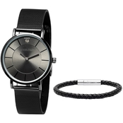 HMY Men's Black IP Stainless Steel Watch and Leather Bracelet C6-002-WD-617-036-B