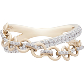 10K Yellow Gold 1/4 CTW Diamond Criss Cross Ring, Size 7