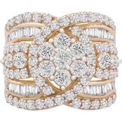 10K Yellow Gold 3 CTW Diamond Cluster Ring Size 7