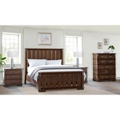 Abbyson Knightly Vintage Oak Wood 4 Piece Bedroom Set, Queen