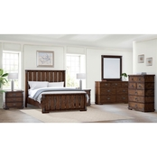Abbyson Knightly Vintage Oak Wood 6 pc. Bedroom Set