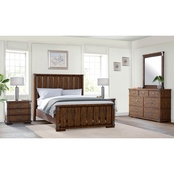 Abbyson Knightly Vintage Oak Wood 5 pc. Bedroom Set