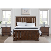 Abbyson Knightly Vintage Oak Wood 3 pc. Bedroom Set
