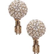 Lauren Ralph Lauren Goldtone Crystal Pave Ball Clip Earrings
