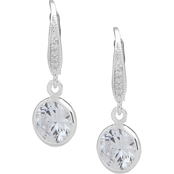 Anne Klein Silvertone Cubic Zirconia Channel Drop Earrings