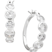 Anne Klein Silvertone Cubic Zirconia Hoop Earrings
