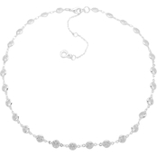 Anne Klein Silvertone Cubic Zirconia Channel Collar Necklace
