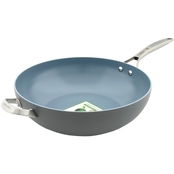 GreenPan Paris Pro 12.5 in. Ceramic Non Stick Open Wok with Handle Helper