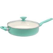 GreenPan Rio 5QT Ceramic Non-Stick Covered Skillet with Helper Handle, Turquoise