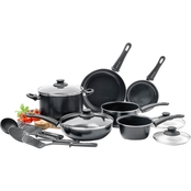 GreenLife Softgrip 14pc Ceramic Non-Stick Cookware Set, Black with Black Interior