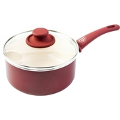 GreenLife Softgrip 3QT Ceramic Non-Stick Covered Saucepan, Red with Cream Interior