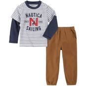Nautica Little Boys Logo Knit Shirt and Twill Pants 2 pc. Set