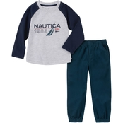 Nautica Little Boys 2 pc. Logo Knit Shirt and Twill Pants Set