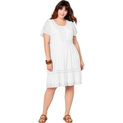 Avenue Plus Size Flutter Sleeve Embroidered Dress