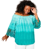 Avenue Plus Size Crochet Sleeve Tie Dye Top