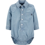 OshKosh B'gosh Infant Boys Salt Water Hickory Button Front Bodysuit