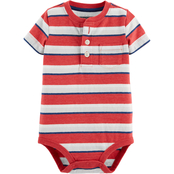 OshKosh B'gosh Infant Boys Striped Henley Pocket Bodysuit