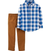 Carter's Toddler Boys Checkered Button Front Top and Canvas Pants 2 pc. Set