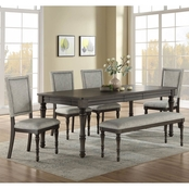 Steve Silver Linnett 6 pc. Dining Set with 4 Upholstered Side Chairs and Bench