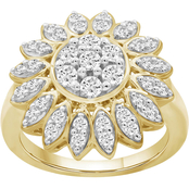 Sterling Silver & 14k Plated 1 Ctw Diamond Flower Ring