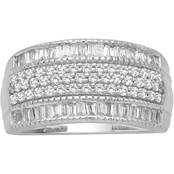 Sterling Silver 1 CTW Genuine White Diamond Band