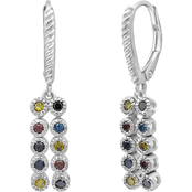 Sterling Silver 1/2 CTW Multicolor Diamond Strip Dangling Earrings