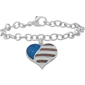 Sterling Silver 1/3 CTW Multicolor Diamond Heart Patriotic Bracelet