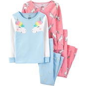 Carter's Little Girls Blue Unicorn 4 pc. Pajama Set