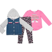 Little Lass Little Girls Busy Chasing Rainbows Jacket, Shirt and Leggings 3 pc. Set