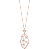 Disney Enchanted 14K Rose Gold Over Silver 1/10CTW Diamond Rapunzel Pendant