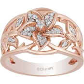 Disney Enchanted 14K Rose Gold Over Silver 1/6 CTW Diamond Rapunzel Ring Size 7