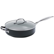 GreenPan Valencia Pro 4.5QT Ceramic Non-Stick Saute Pan with Helper Handle and Lid