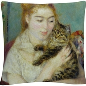Trademark Fine Art Woman With a Cat Decorative Throw Pillow