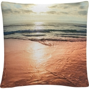 Trademark Fine Art Sunset Beach Reflections Decorative Throw Pillow