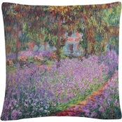 Trademark Fine Art The Artists Garden at Giverny Decorative Throw Pillow