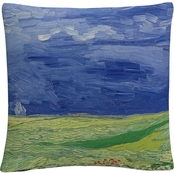 Trademark Fine Art Wheatfields Under Thnderclouds Decorative Throw Pillow