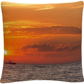 Trademark Fine Art Fishing Boat Sunset Decorative Throw Pillow