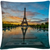 Trademark Fine Art Sunrise in Paris Decorative Throw Pillow