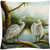 Trademark Fine Art Three Herons Decorative Throw Pillow