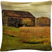 Trademark Fine Art Old Barn on Rainy Day Decorative Throw Pillow