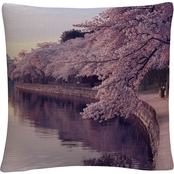 Trademark Fine Art Cherry Blossoms Jefferson Memorial Decorative Pillow