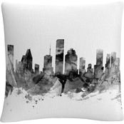 Trademark Fine Art Houston Texas Skyline B&W Decorative Throw Pillow