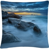 Trademark Fine Art Blue Hour for a Blue Ocean Decorative Throw Pillow