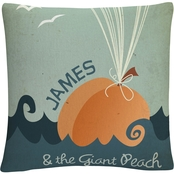 Trademark Fine Art James and the Giant Peach Decorative Throw Pillow